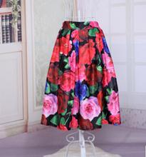 free shipping Women's sweet flower skirts pleated skirt high waist rockabilly skirt