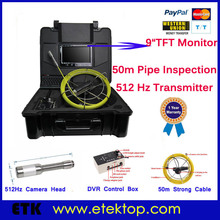 "9""TFT Mon 50M Strong Cable Pipe Inspection Camera With 512Hz Transmitter,Keypad, Sewer Drain Inspection Snake Camera Video(China (Mainland))"
