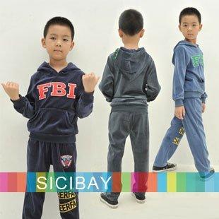 Boys Winter Clothing Velvet Clothing Suit Cool Letter FBI Design Hooded Pockets Set,Free Shipping  C0369