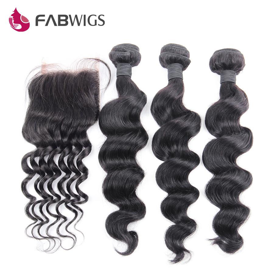 4pcs Lot Peruvian Loose Wave with Closure Human Hair Weave 3 Bundles with Lace Closure 6A Peruvian Virgin Hair with Closures