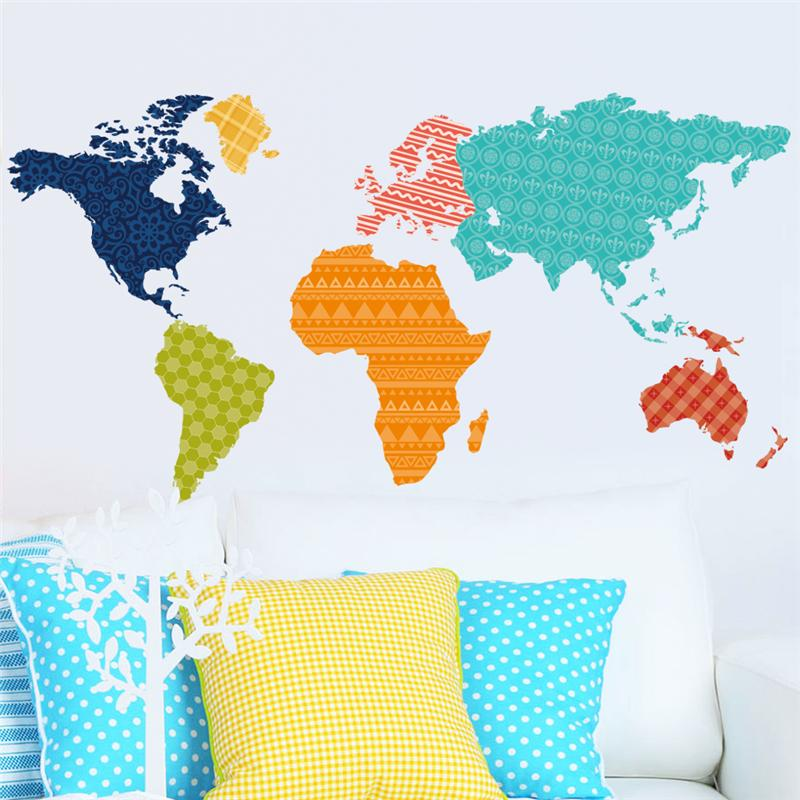 colorful plates world map wall stickers diy office living room bedroom home decorations creative pvc decal mural art 036. 3.5(China (Mainland))