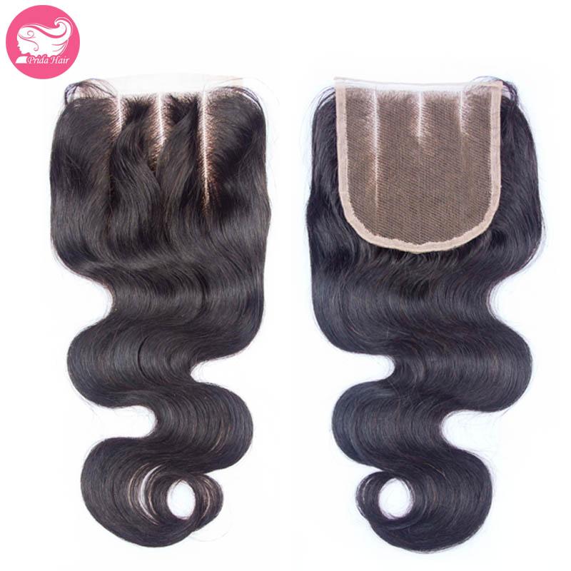 שלושה חלקי הגוף גל אנושי בתולה ברזילאי שיער תחרה סגר 4x4 התיכון פרידה מולבן קשר פריסטייל תחרה שוויצרי, סגירה עליונה