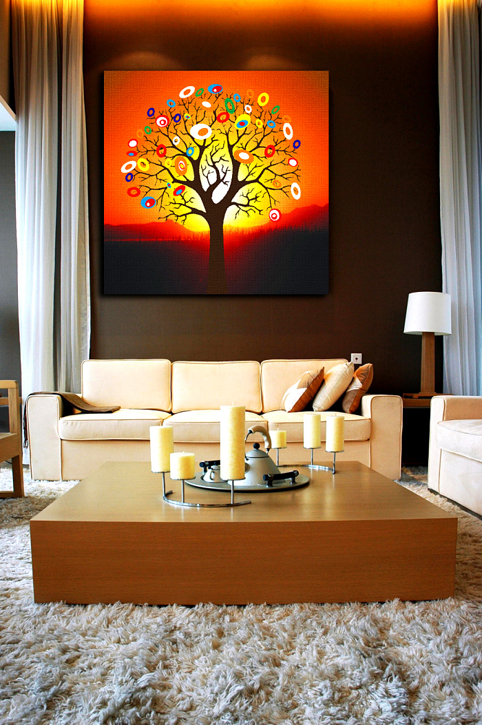 Compare prices on orange tree pictures online shopping for Paint living room online
