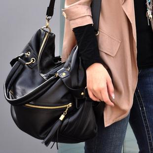 2015 Ladies Medium Black Casual Vintage Long Zipper Pocket Crossbody Shoulder Slouch Bag Promotion! ACET0115(China (Mainland))