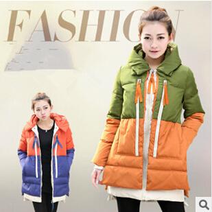 2015 Korean new hot sell women thick down jacket fashion long mixed colors thicker ladies winter warm jacket free shipping NM04(China (Mainland))