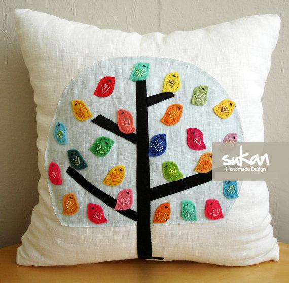 How To Make A Cute Pillow Case : Aliexpress.com : Buy #745 Creative cute canvas handmade applique bird home bedding sofa Cushion ...