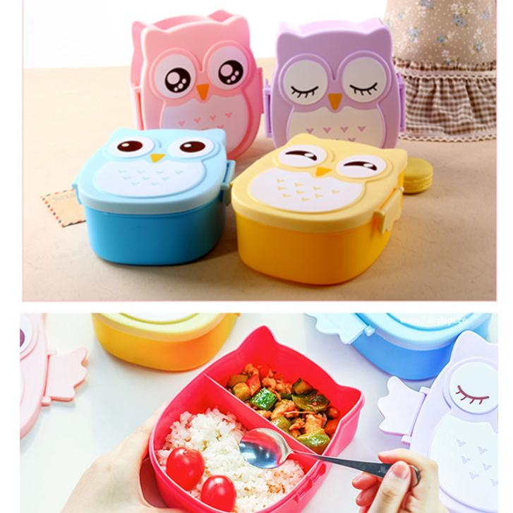 Fun Life Bento Box Cartoon Cute Owl Japan Bento Lunch Meal Box Tableware Easy-Open Microwave Oven(China (Mainland))