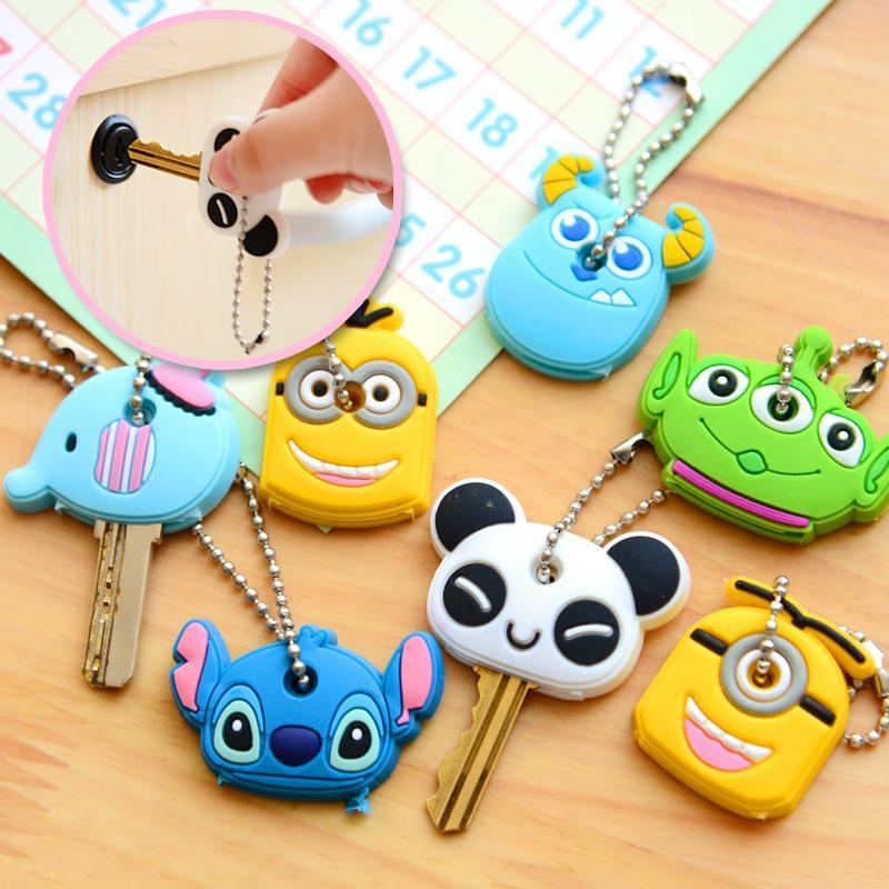 2pcs/lot Cute Anime Cartoon Silicone Stitch Minion Key Cover Key Caps Keychain Key Chain Key Ring Key Holder Women Gift(China (Mainland))