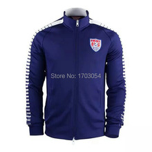 2015 USA New Soccer Jacket Top Quality USA 15-16 Blue Football Soccer Training Sportswear With Free Shipping(China (Mainland))
