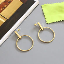Exaggerated the circle earrings earrings mirror bronze ornaments Earrings 3.7 cm in diameter Fashionable woman gift(China (Mainland))