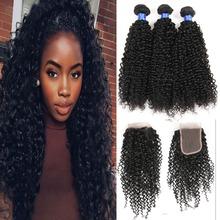 Malaysian Virgin Hair With Closure kinky curly hair weaves 3bundles With Closure malaysian curly hair with closure afro curly(China (Mainland))