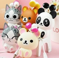 Cat cartoon earphone automatic retractable earphones for mobile phone cartoon Headsets in ear with MIC For