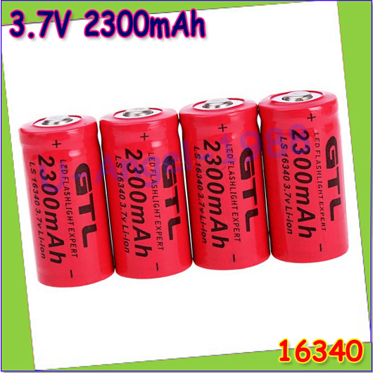Гаджет  Wholesale 4pcs/lot  Rechargeable 3.7V 16340 GTL Li-ion 2300mAh Red Rechargeable Battery for Flashlight Drop Free Shipping None Электротехническое оборудование и материалы
