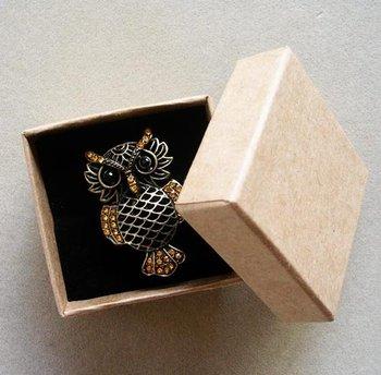 Free shipping wholesale 100pcs/lot Kraft Paper box Fashion Finger Ring Jewelry box 5*5*3.8cm