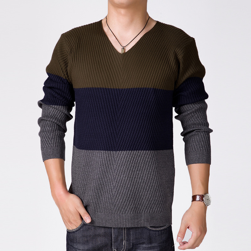 Mens Striped Sweater 2015 Stylish Long Sleeve Cotton Patchwork V Neck Sweater Knitting Patterns Men Pullovers Autumn Winter Tops(China (Mainland))