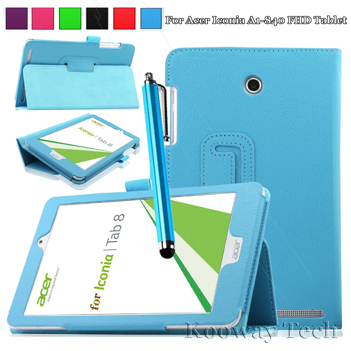 For Acer Iconic A1 840 Leather Case, Premium Quality Smart Cover for Acer Iconia Tab 8 A1-840 FHD Tablet with Free Stylus(China (Mainland))