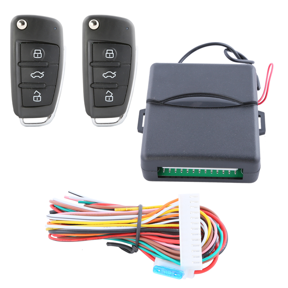 Quality universal car keyless entry system with flip key blade key fobs remote trunk release central door locking(China (Mainland))