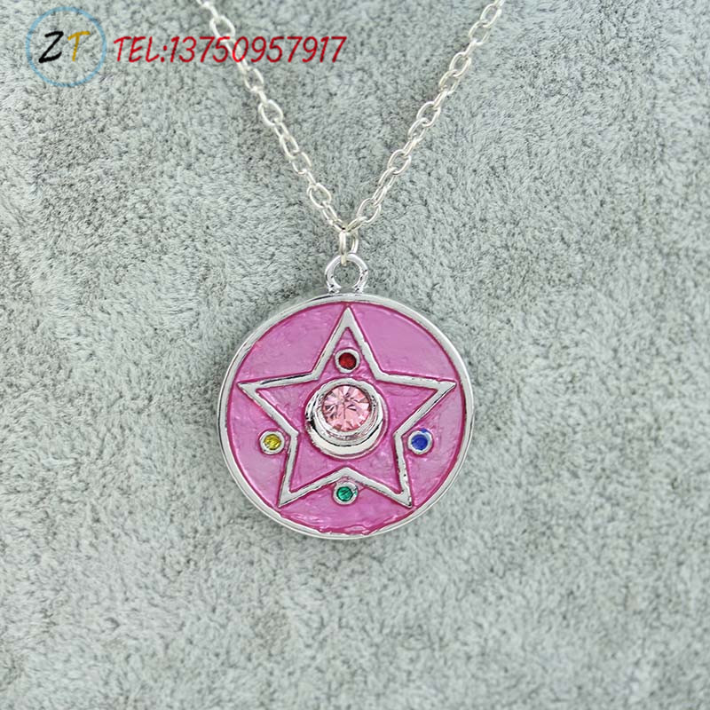 Japan anime necklace alloy pendant pink Sailor Moon charm necklace(China (Mainland))