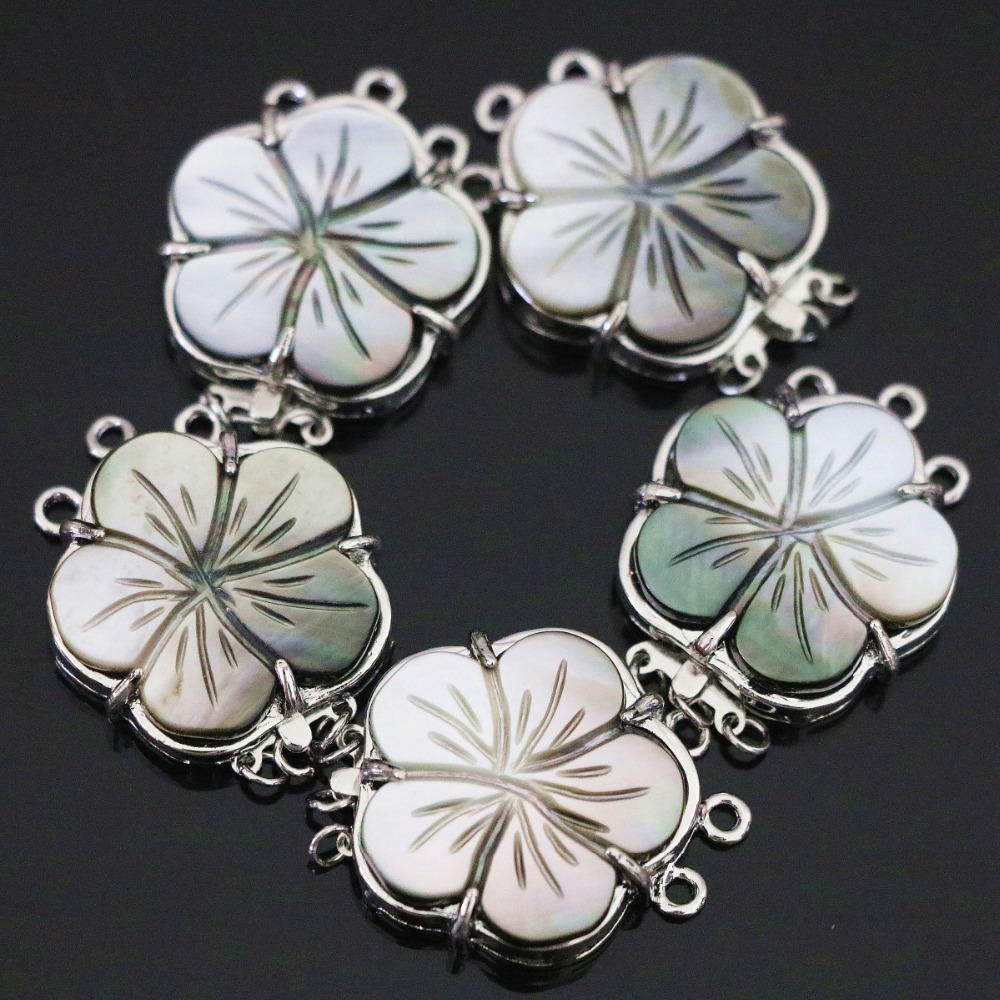 New natural gray mother shell 3rows flower clasp 24mm fashion diy necklace jewelry B1154(China (Mainland))