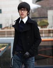 Black grey high quality short wool coat men winter jacket overcoat mens cashmere coat pea coat modern urban plus size S - 3XL(China (Mainland))