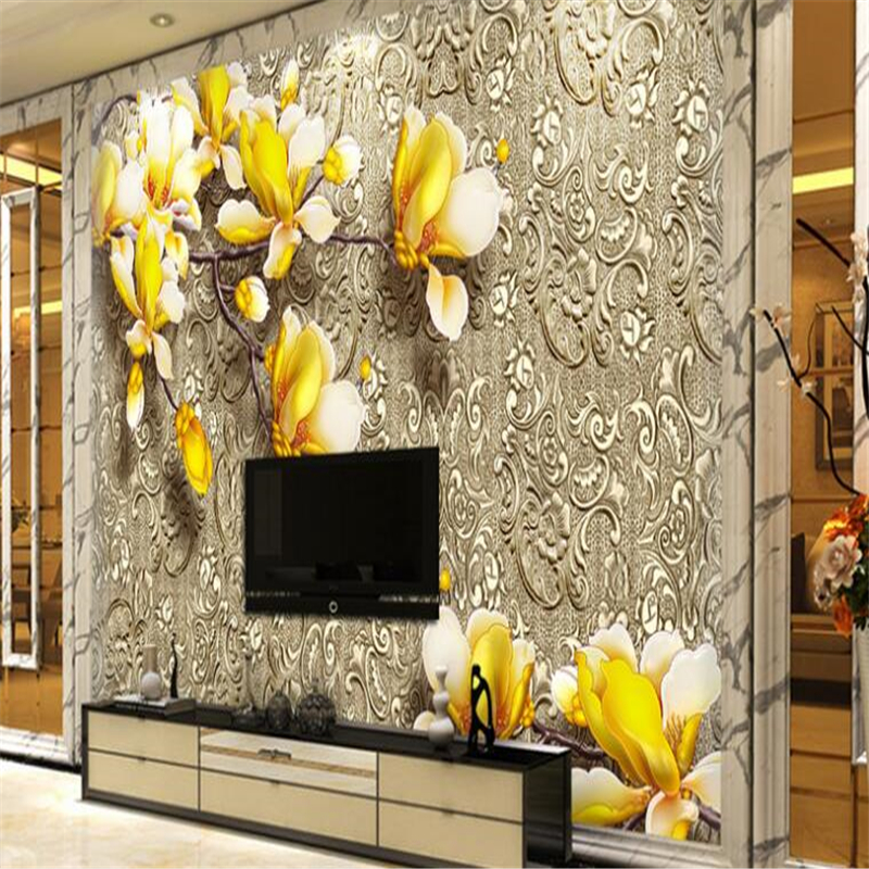 3d custom photo wallpaper wall murals wall stickers Sculpture of magnolia flower pattern of metal background wall paper 3d(China (Mainland))