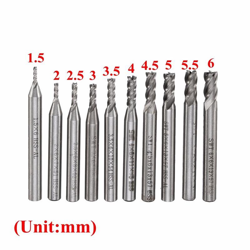 10Pcs/Set 10 Size 1.5-6mm HSS & Aluminum CNC 4 Flutes Blades End Milling Machine Assembled Cutter Router Drill Bit For Wood etc