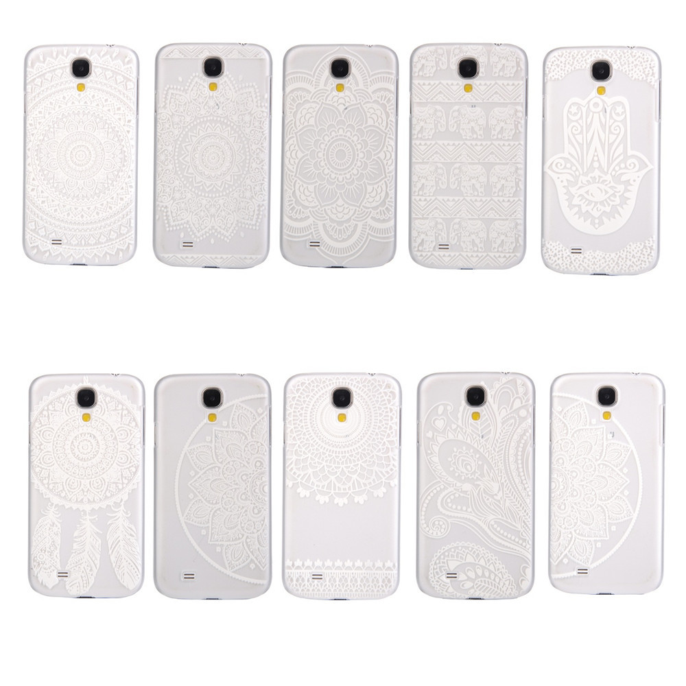 Luxury Clear Plastic Phone Shell White Floral Paisley Flower Mandala Dream Catcher Case Cover for Samsung Galaxy S4 i9500 i9505(China (Mainland))