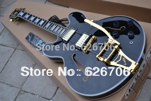 Wholesale - Huge black 335 Hollow Body bigsby bridge F-hole Ebony electric guitar gold hardware(China (Mainland))