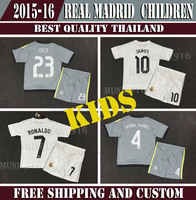 2015/16 real madrid kids /boy soccer jerseys Ronaldo James Bale Kroos Ramos Isco children shirts, real madrid 2016 RONALDO kids