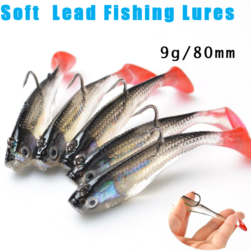5Pcs/Lot 3D Eyes Lead Fishing Lures With T Tail Soft Fishing Lure Single Hook Baits artificial bait jig wobblers rubber 80mm/9g(China (Mainland))