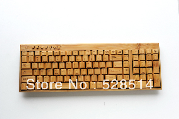 New Green High quality Bamboo keyboard KG201-N Wireless USB connect Computer Laptop Touchpad Household Office(China (Mainland))