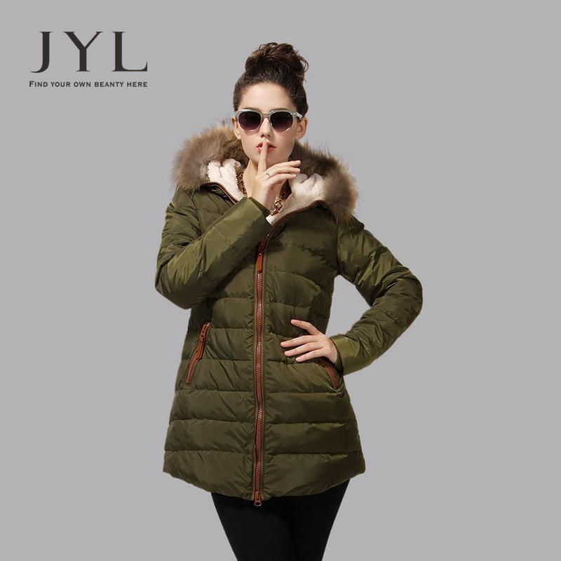 JYL 2014 Winter genuine mink fur hood line winter coats,warm fleece lining long coat parkas women winter,split back - store