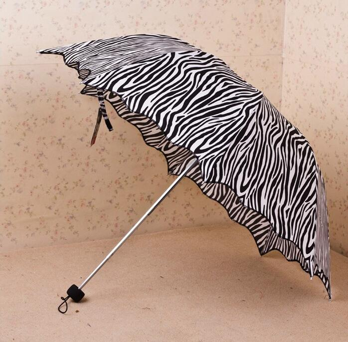 Zebra Design 3 Fold Sun Rain Umbrellas Black Coating 110CM UFP>30 Sunny Rainy Protect Umbrella Woman Female Popular