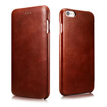 iCarer Luxury curved surface Retro Flip case for iPhone 6 Plus 6s Plus Genuine Cowhide Mobile Phone bags cases