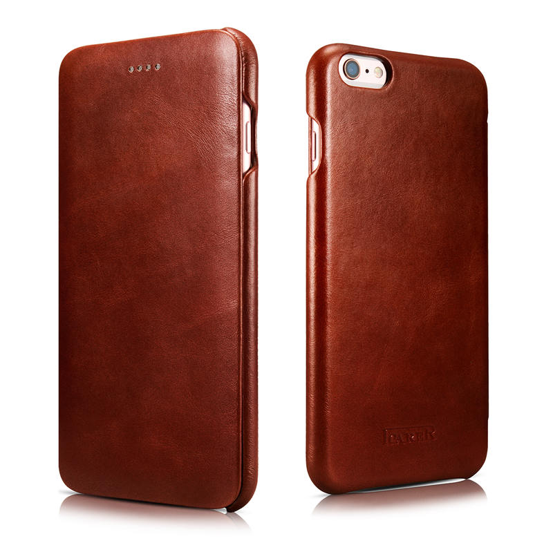 iCarer Luxury curved surface Retro Flip case for iPhone 6 Plus 6s Plus Genuine Cowhide Mobile Phone bags cases(China (Mainland))