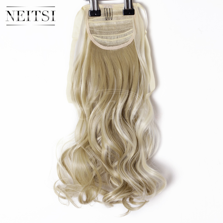 "Neitsi 1PC 22"" Ombre Synthetic Curly Hair Ponytails Hairpieces Wavy Clip In On Pony Tail Hair Extension F24/613# Thick Soft Hair(China (Mainland))"
