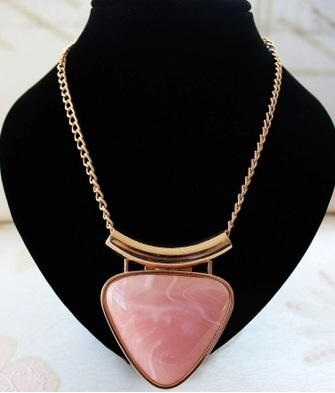 New fashion summer jewelry big pink triangle stone collares 2015 choker necklace gold snake chain necklaces pendants for women(China (Mainland))