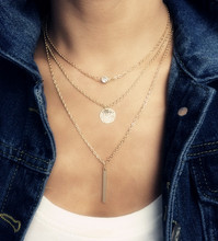 Fashion accessories jewelry New Bohemia 3 layer chain link  Wafer necklace gift  for women girl wholesale N1622