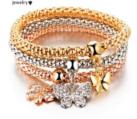 2016 HOT 3 PCS/Set Crystal Butterful Bracelet & Bangle Elastic Heart Bracelets Women pulseira masculina best Handmade Gift(China (Mainland))
