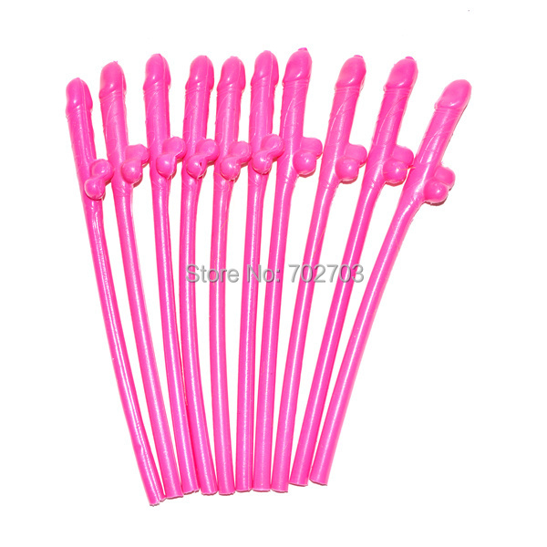 Drinking Penis Straws Hen party Bachelorette party dickies 10pcs of hot pink purple brown Straw Joke Sex Toys(China (Mainland))