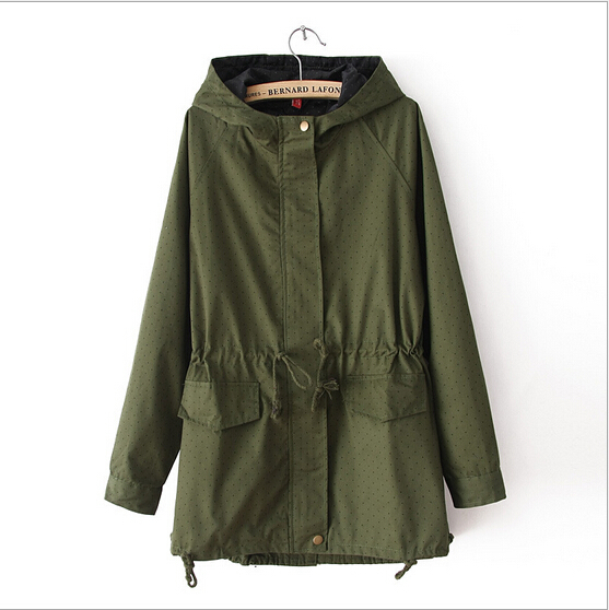 new trend all-match trench female popular wave point pattern hooded drawstring coat women classic army green wild outwear S765Одежда и ак�е��уары<br><br><br>Aliexpress