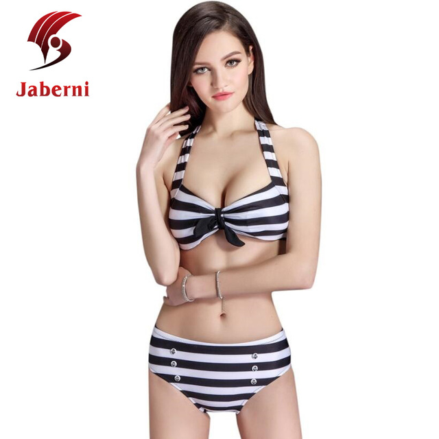 Студент элегантное стиль пляж носить росту полоса комплект бикини американский бренд мода бинты купальник женщины хлопка-ватник купальники