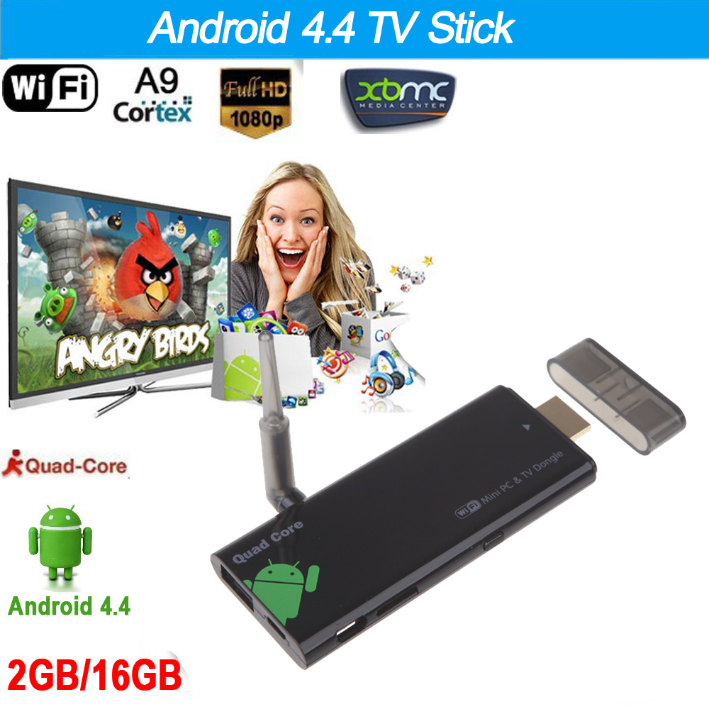 CX919 Android 4.4 TV Stick Quad Core 2G/16G Bluetooth 4.0 1080P with XBMC DLAN External WiFi Antenna Mini PC Box tv Dongle(China (Mainland))