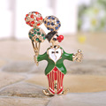Creative Esmalte Enamel Figure Balloon Brooches Colorful18K Gold Plated Shorts Lapel Pin Full Crystals Delicate Wedding