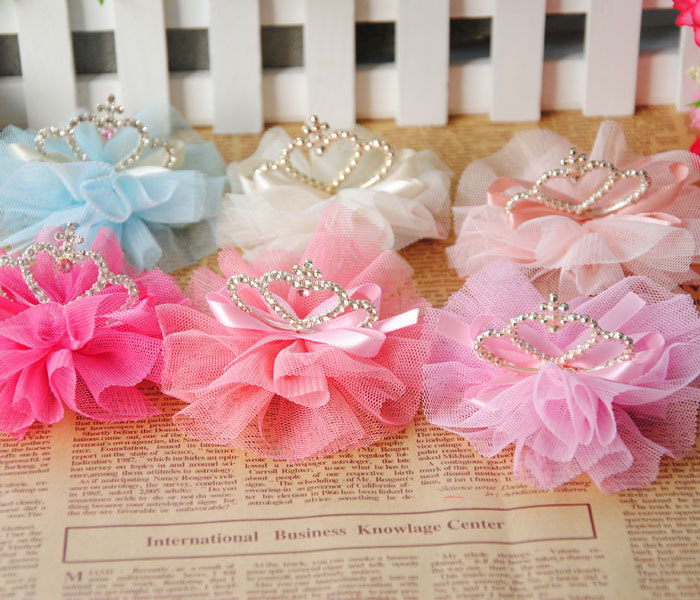 Fashion Baby Accessories Mesh Big Flower Bows Rhinestone Crown Children Girl Jewelry Hair Clip HairPins Hairwear(China (Mainland))