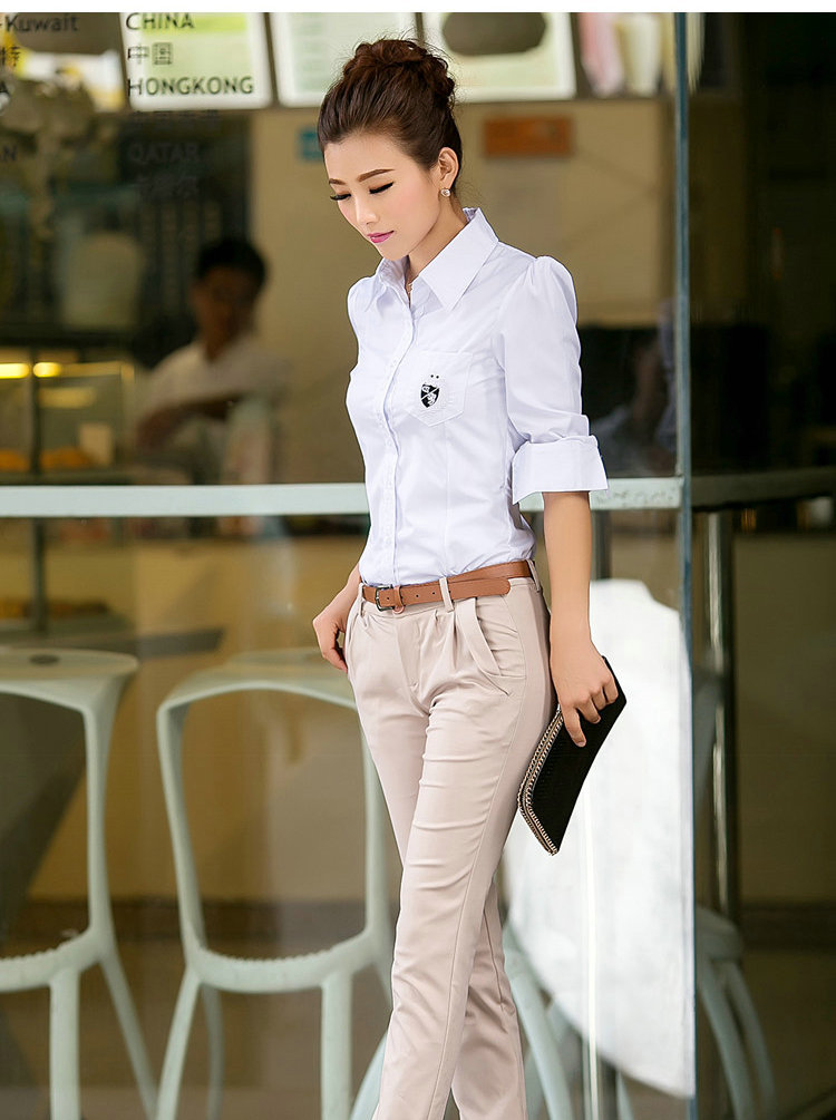 ... Shirts Ladies Office Wear White Large Size Shirts Tops Free Shipping