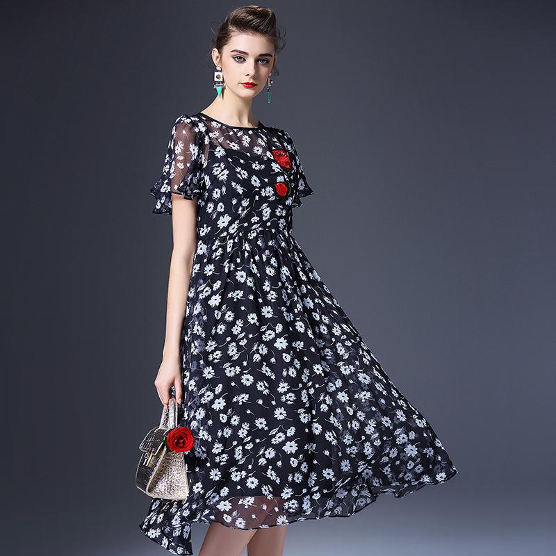 The new spring and summer 2016 European high-end womens temperament slim silk dress zipper printing Q6290Одежда и ак�е��уары<br><br><br>Aliexpress