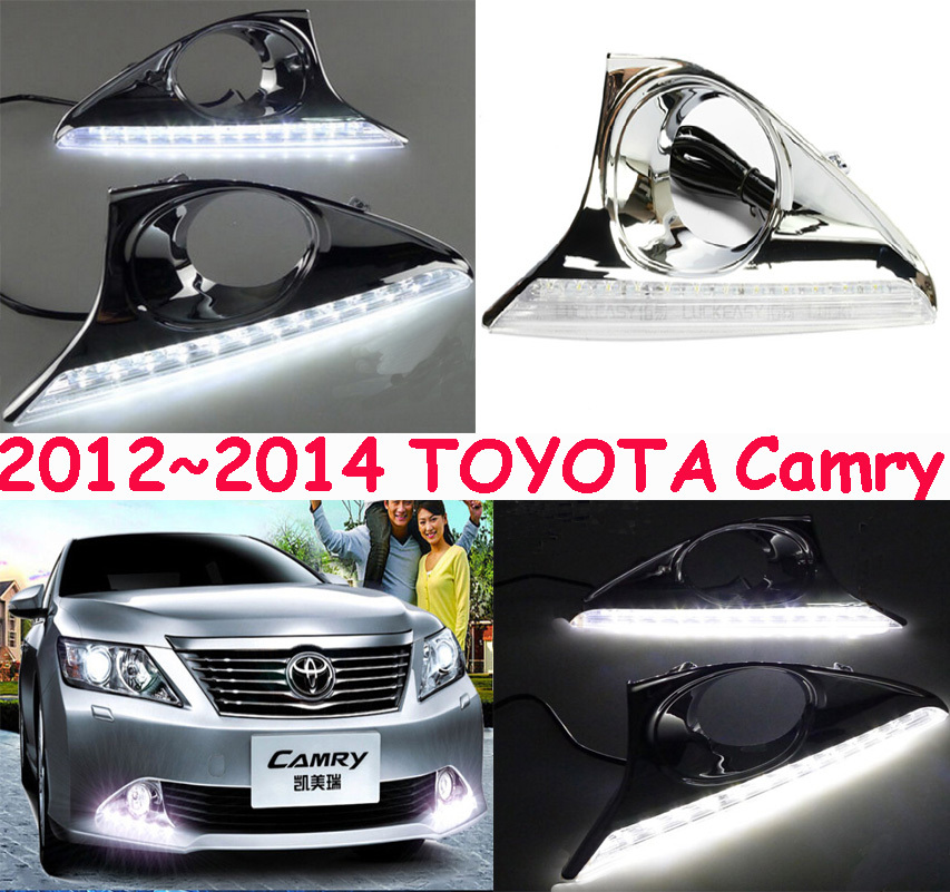 2012~2014 TOYOTA Camry car LED daytime running light+Free ship to your door,2pcs/set+wire of harness,10~12W 12V,6000K,good!