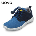 UOVO 2016 Fall Children Casual Sport Canvas Shoes Light weight Denim Elastic Lace Kids Boys Shoes