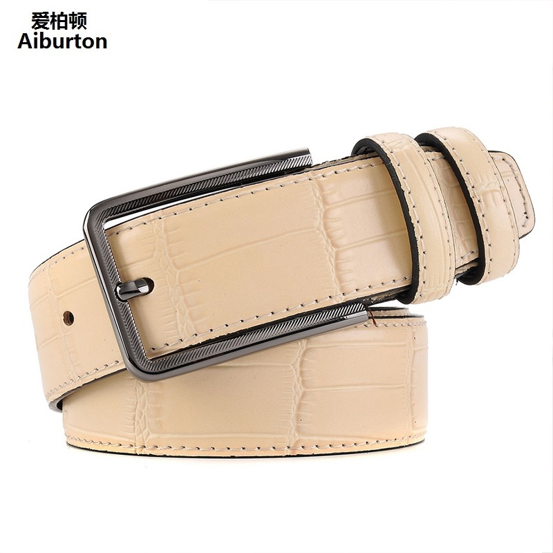 Bamboo grain Designer Belts Men High Quality Man Belt Brand Leather Square big buckle active style brown 125cm ceinture homme(China (Mainland))